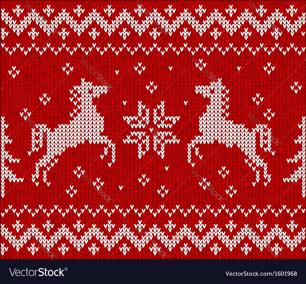 Christmas knit in Norway style with horses