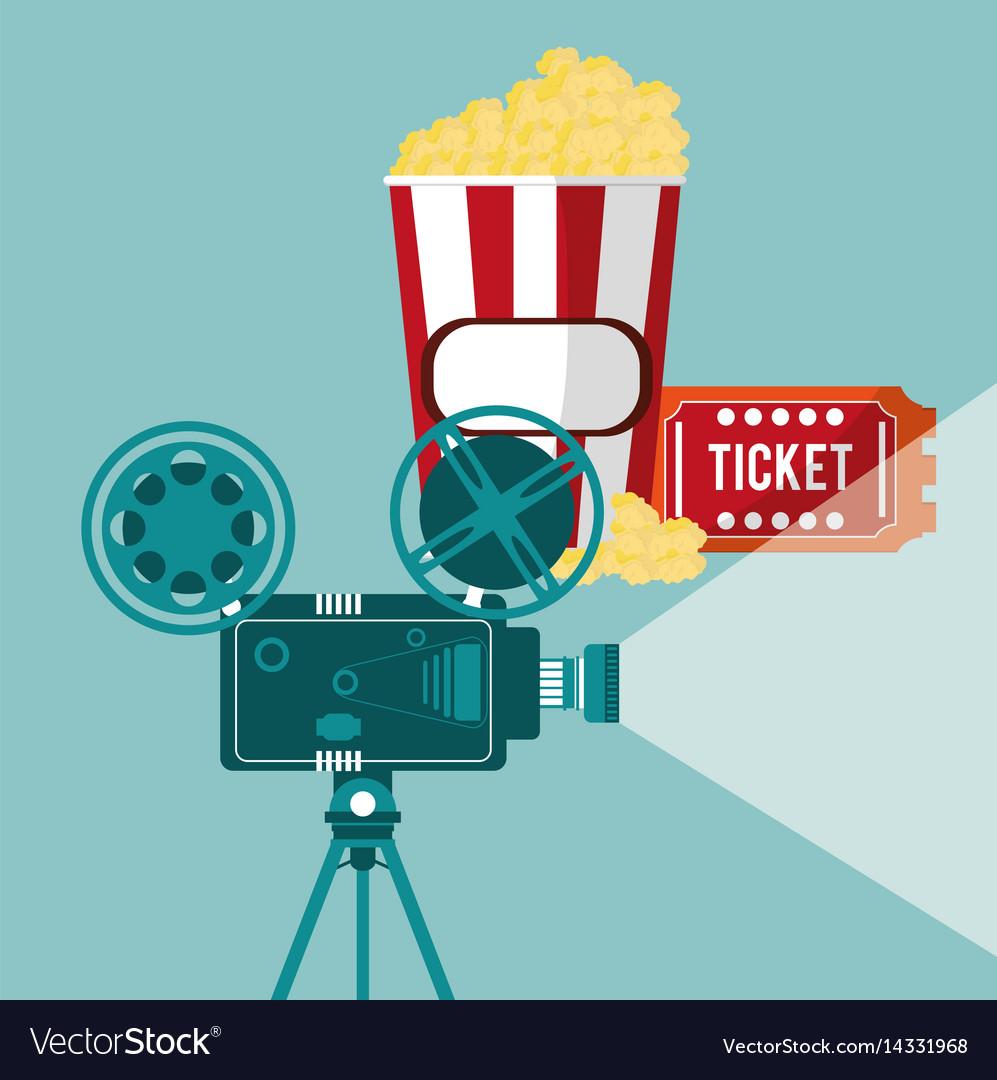 Cinema camera film projector ticket and pop corn