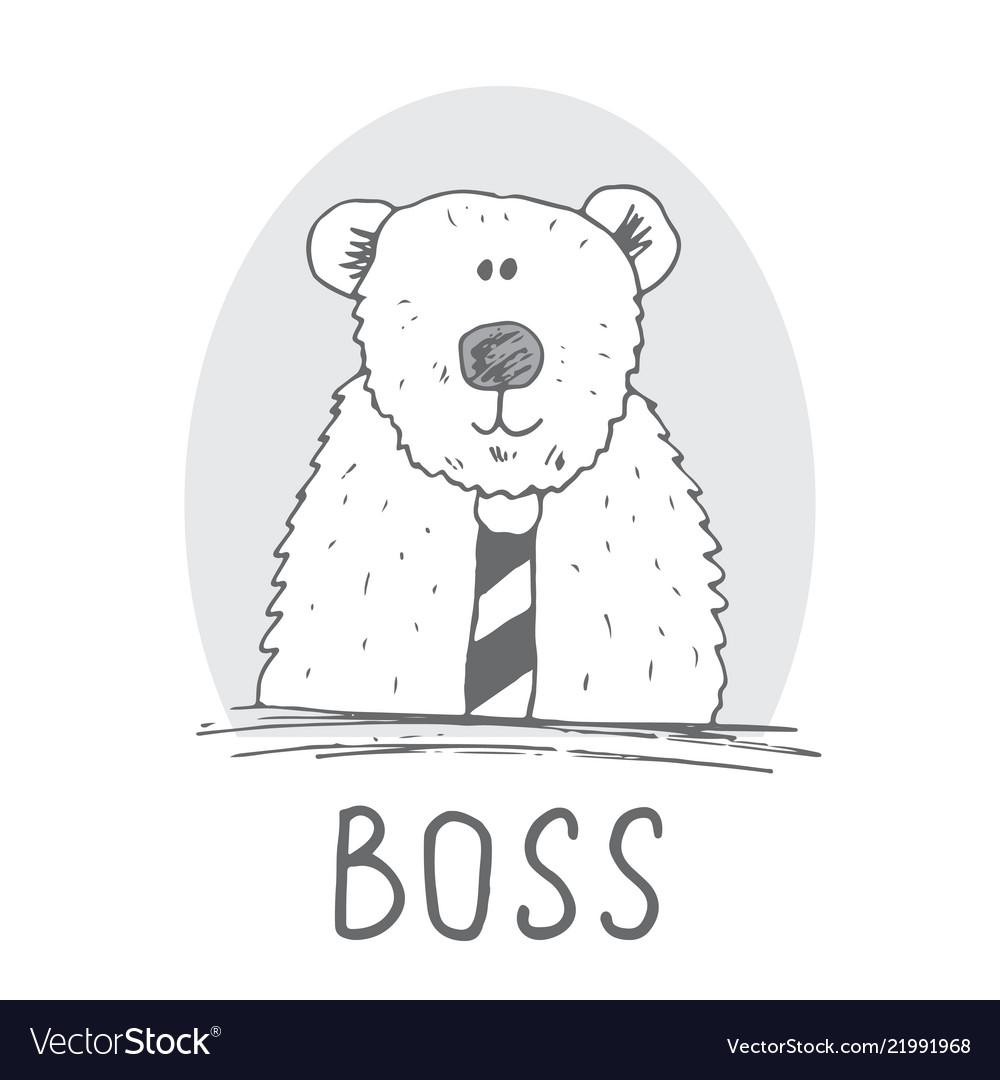Cute bear hand drawn sketch t-shirt print design