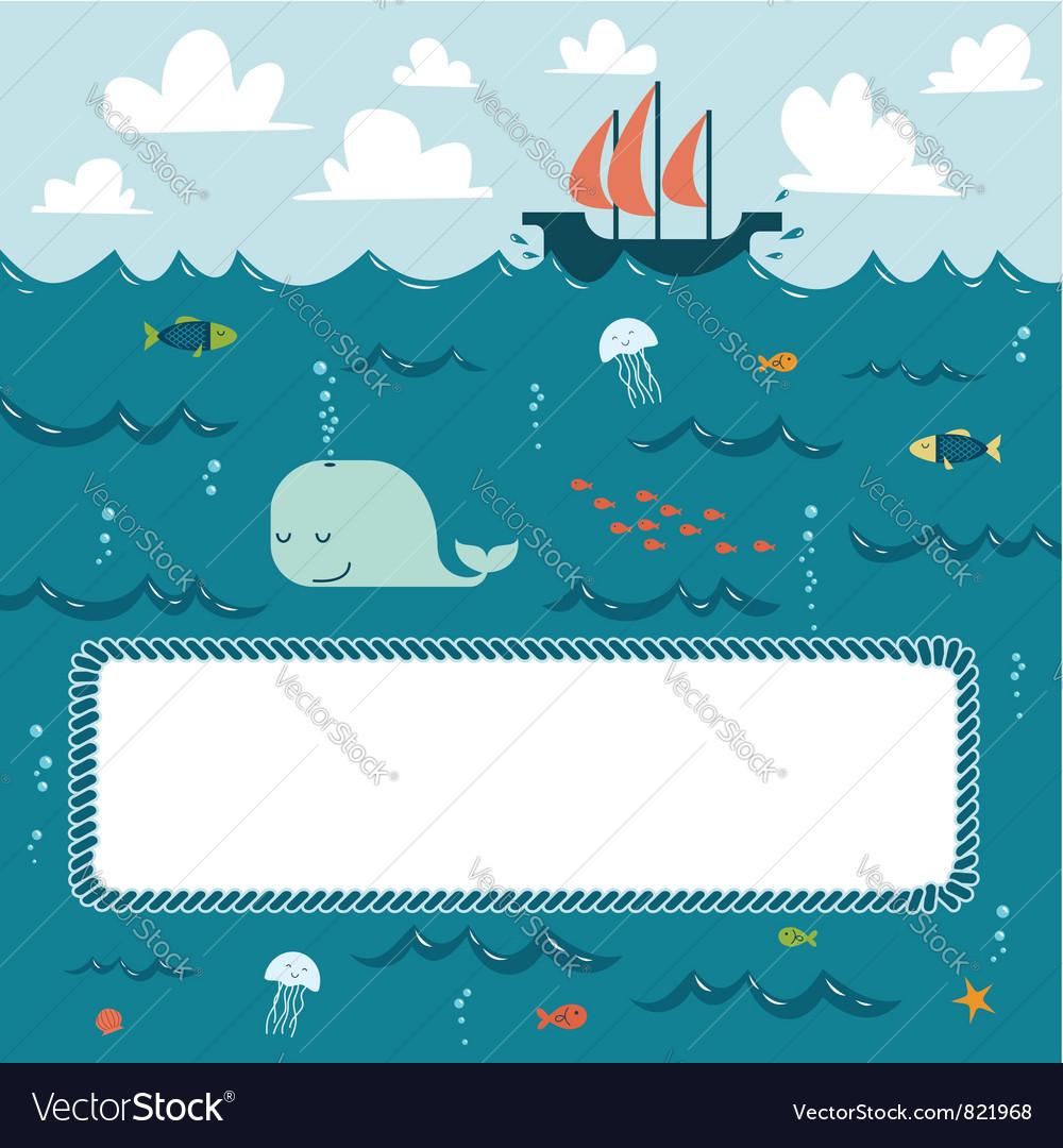 Deep blue sea frame vector image