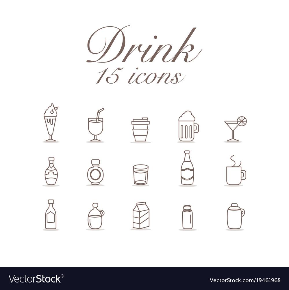 Drink 15 icons set design