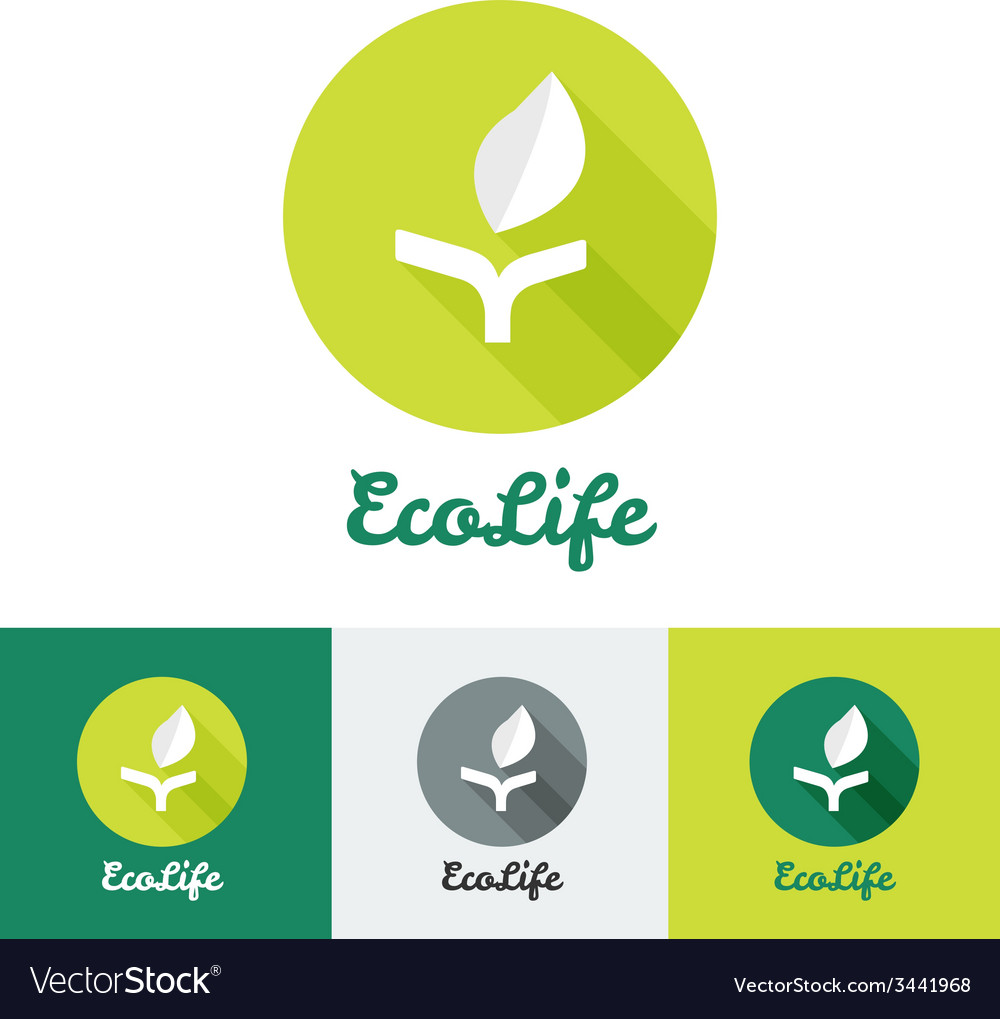 Flat minimalistic eco logo vector image