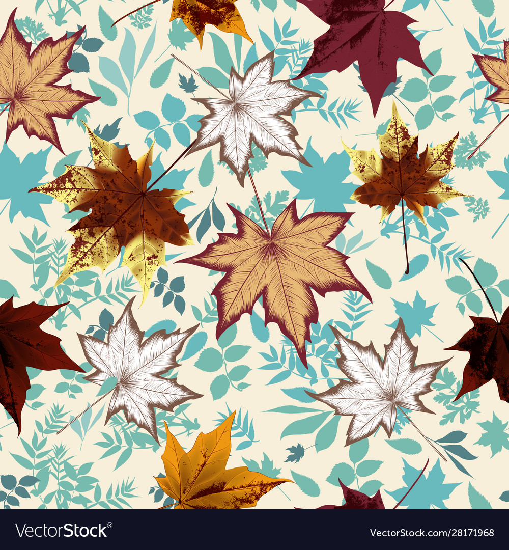Floral autumn pattern with fall leaves