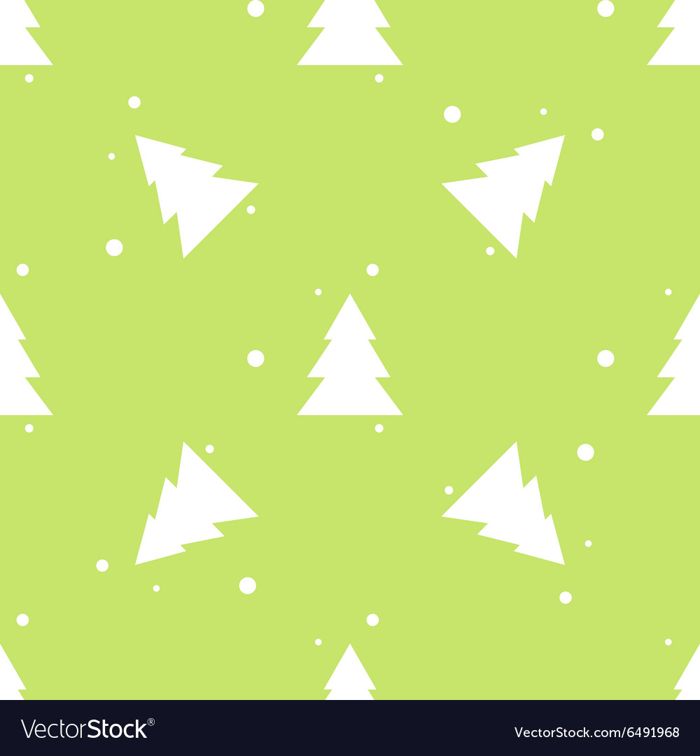 Forest fir tree and snow green seamless pattern vector image