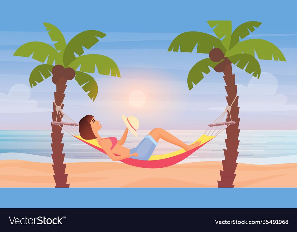 Girl lying in hammock sea beach summer tropical