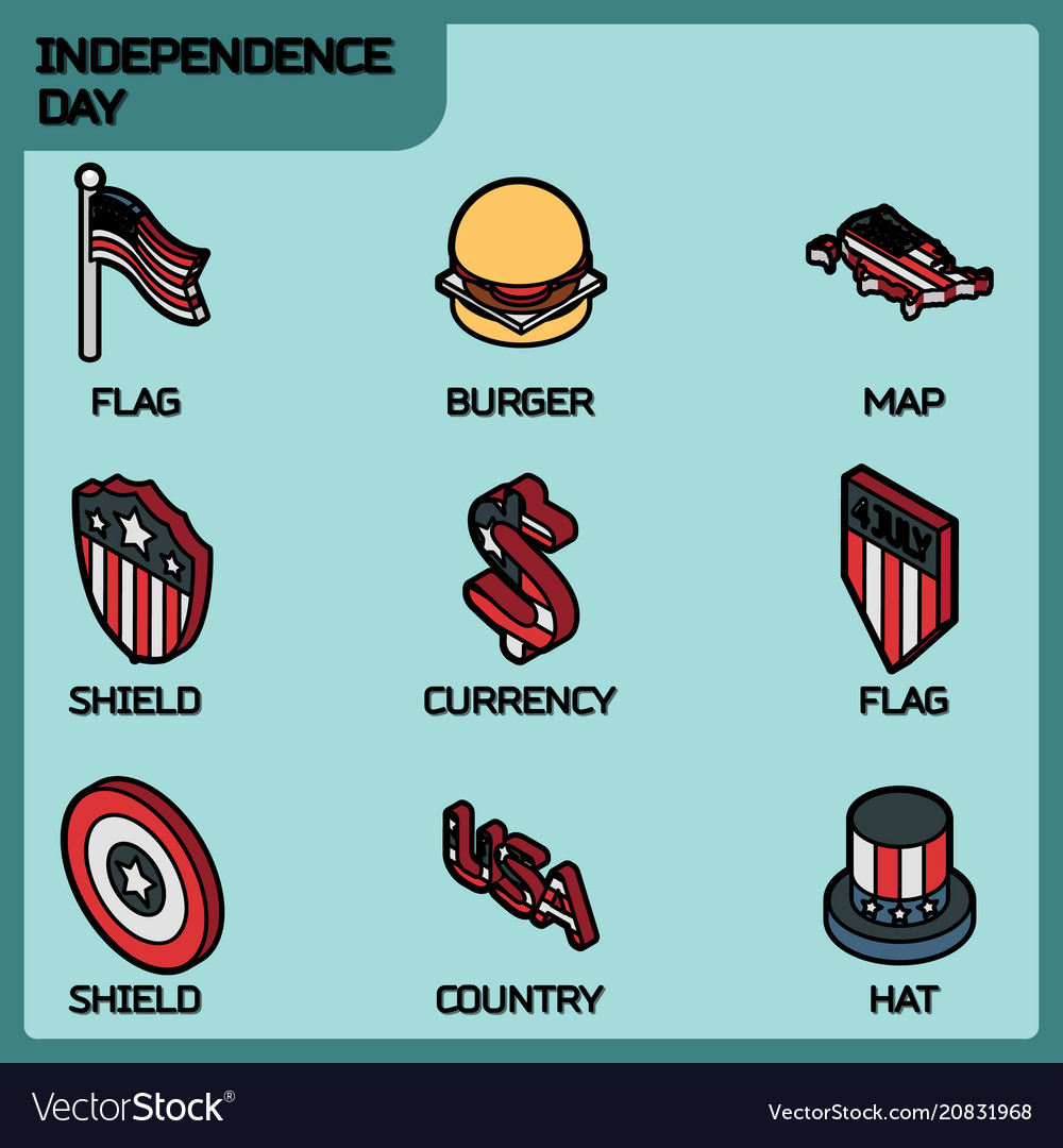 Independence day color outline isometric icons