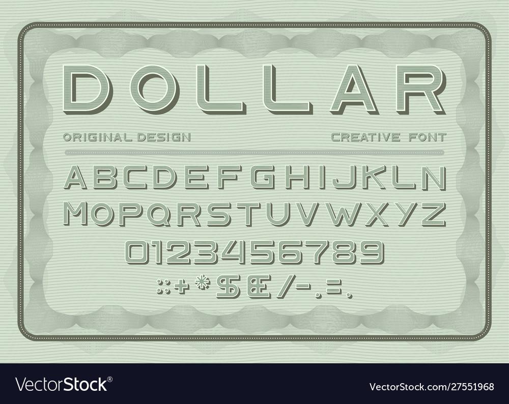 Money font dollar latin alphabet sans serif