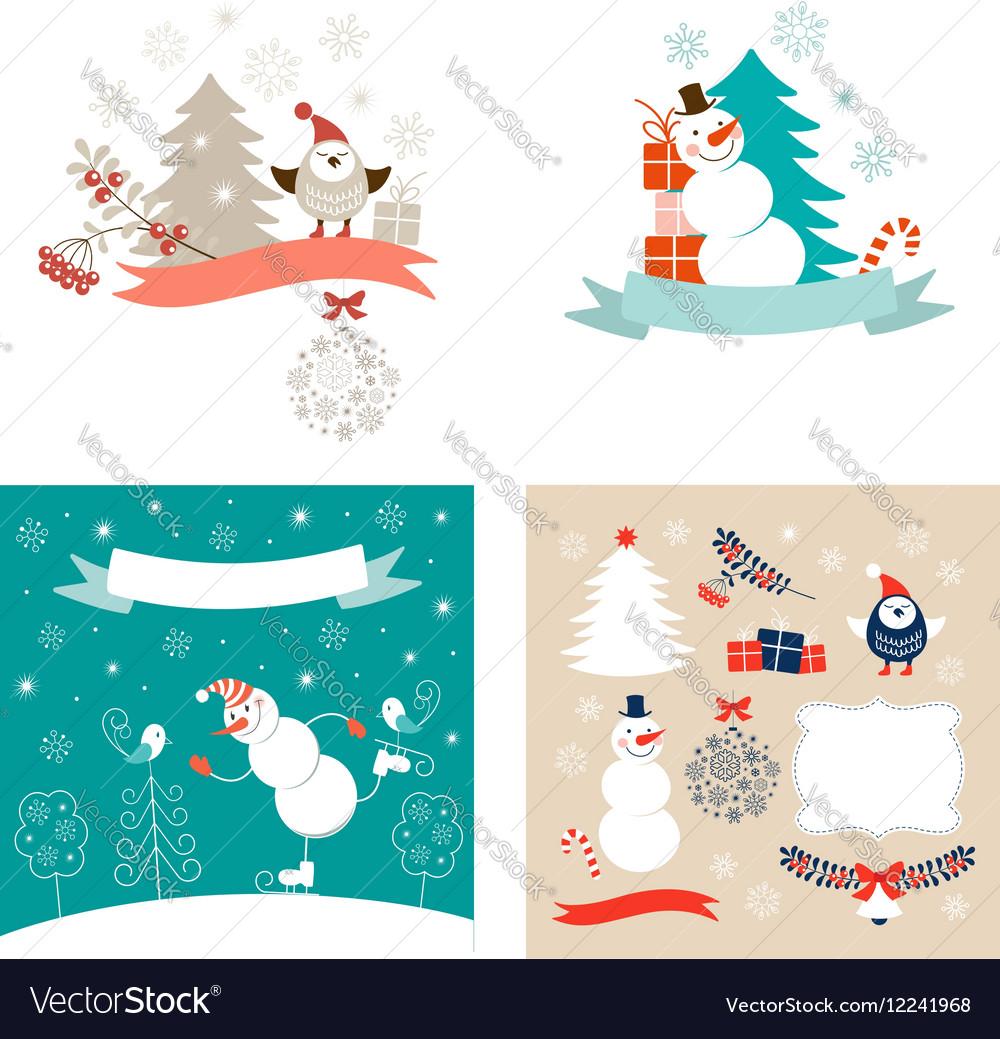 New Year design elements set vector image
