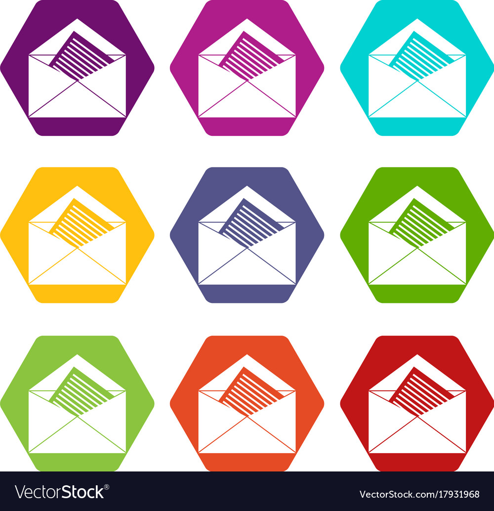 Open envelope with sheet of paper icon set color Vector Image