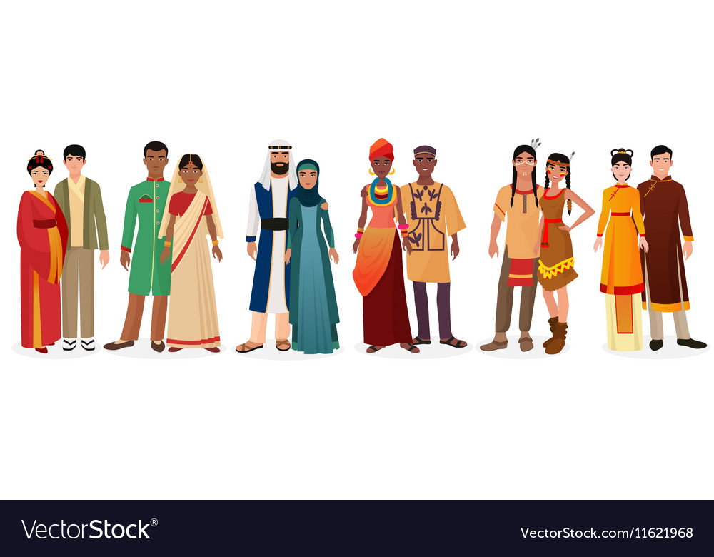 People in national traditional dress clothes vector image