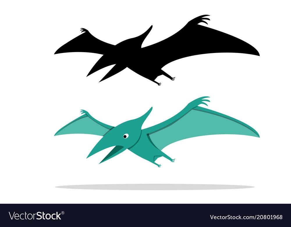 Pterosaurs flying dinosaur on white art