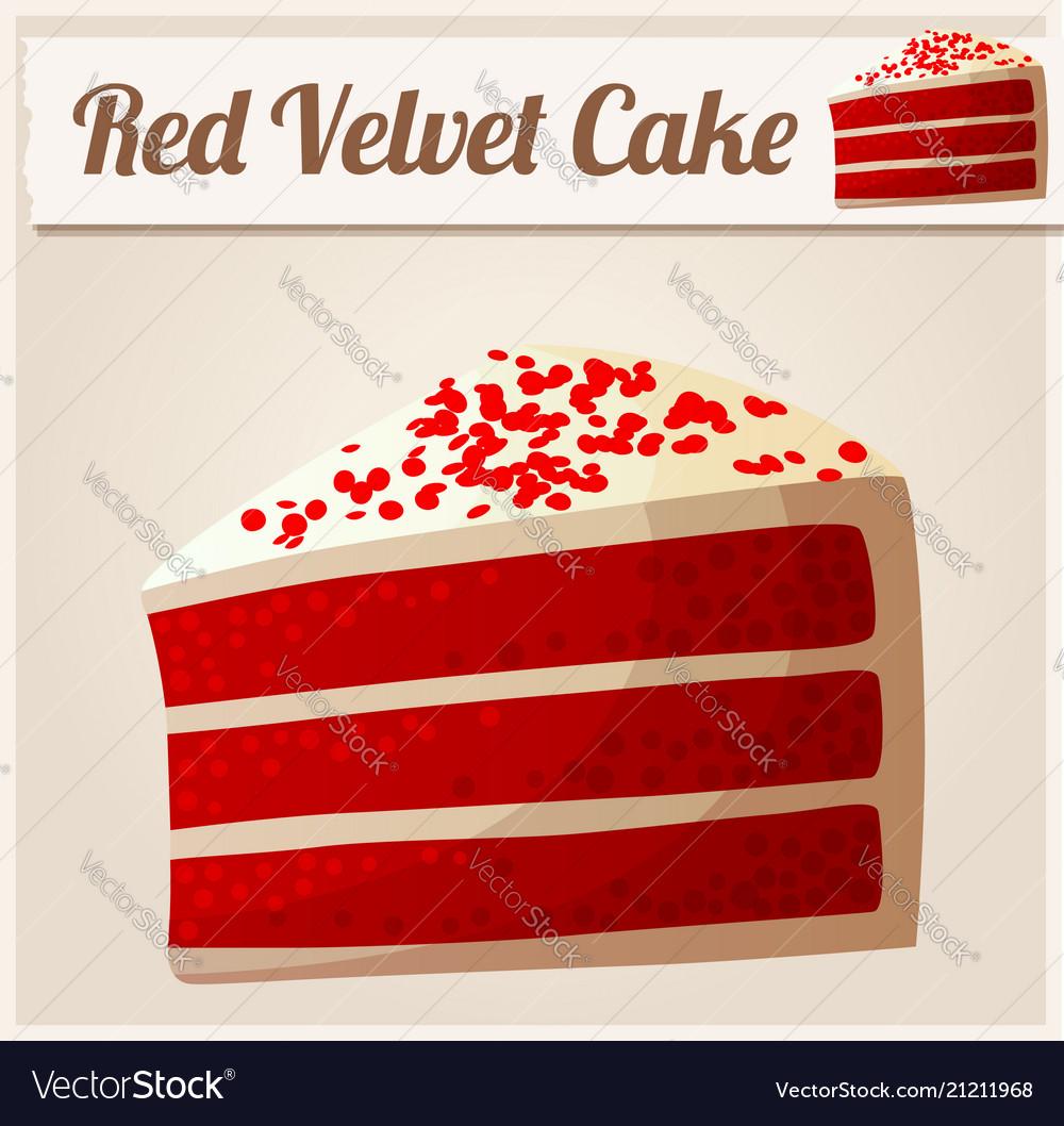 Red velvet cake detailed icon