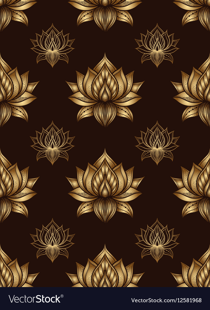 Seamless pattern with lotus flowers hand drawn