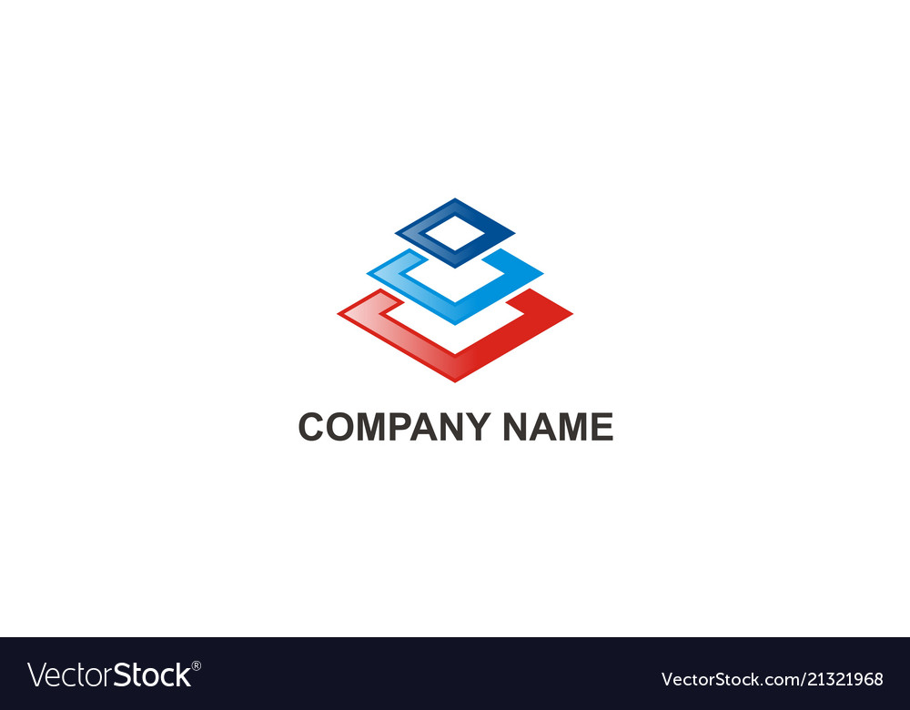 Square colored construction abstract company logo