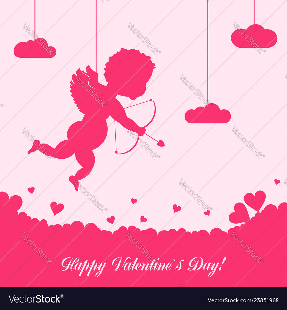 Valentines day card with cupid and ornaments