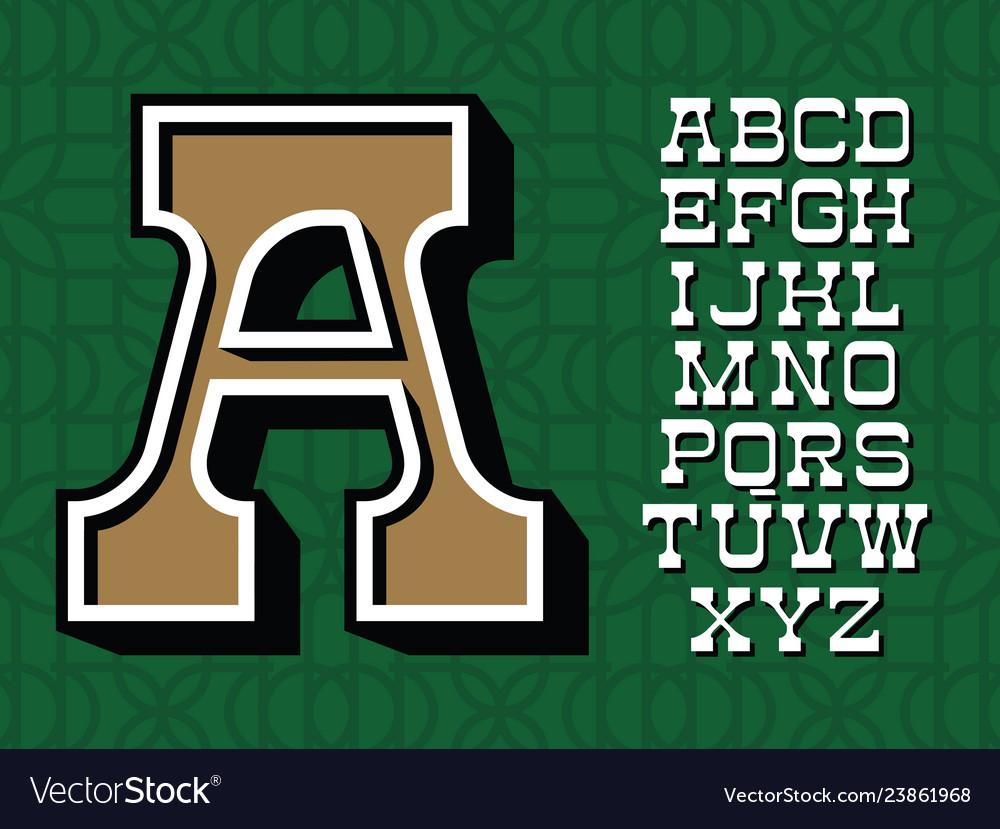 Western typeface alphabet with latin