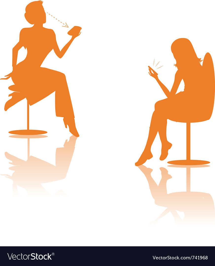 Women on cell silhouettes
