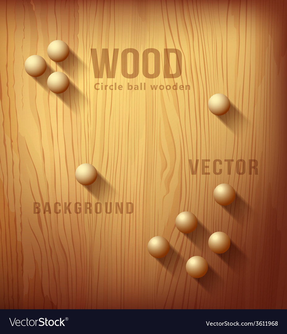 Wood texture realistic and circle designs ball vector image