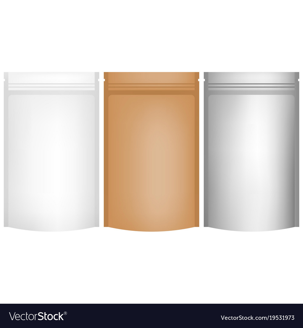Aluminium and paper craft foil bag container vector image