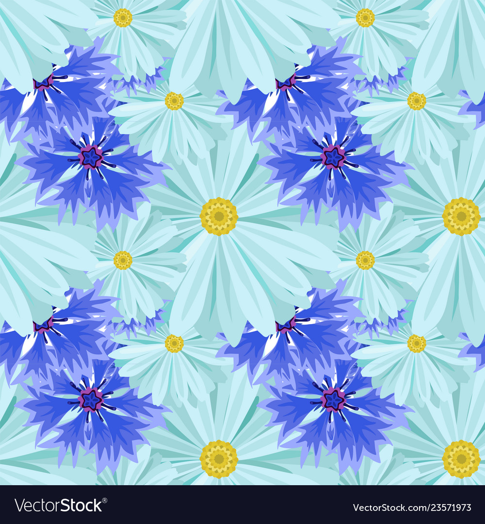 Background with light blue daisies and blue lilac