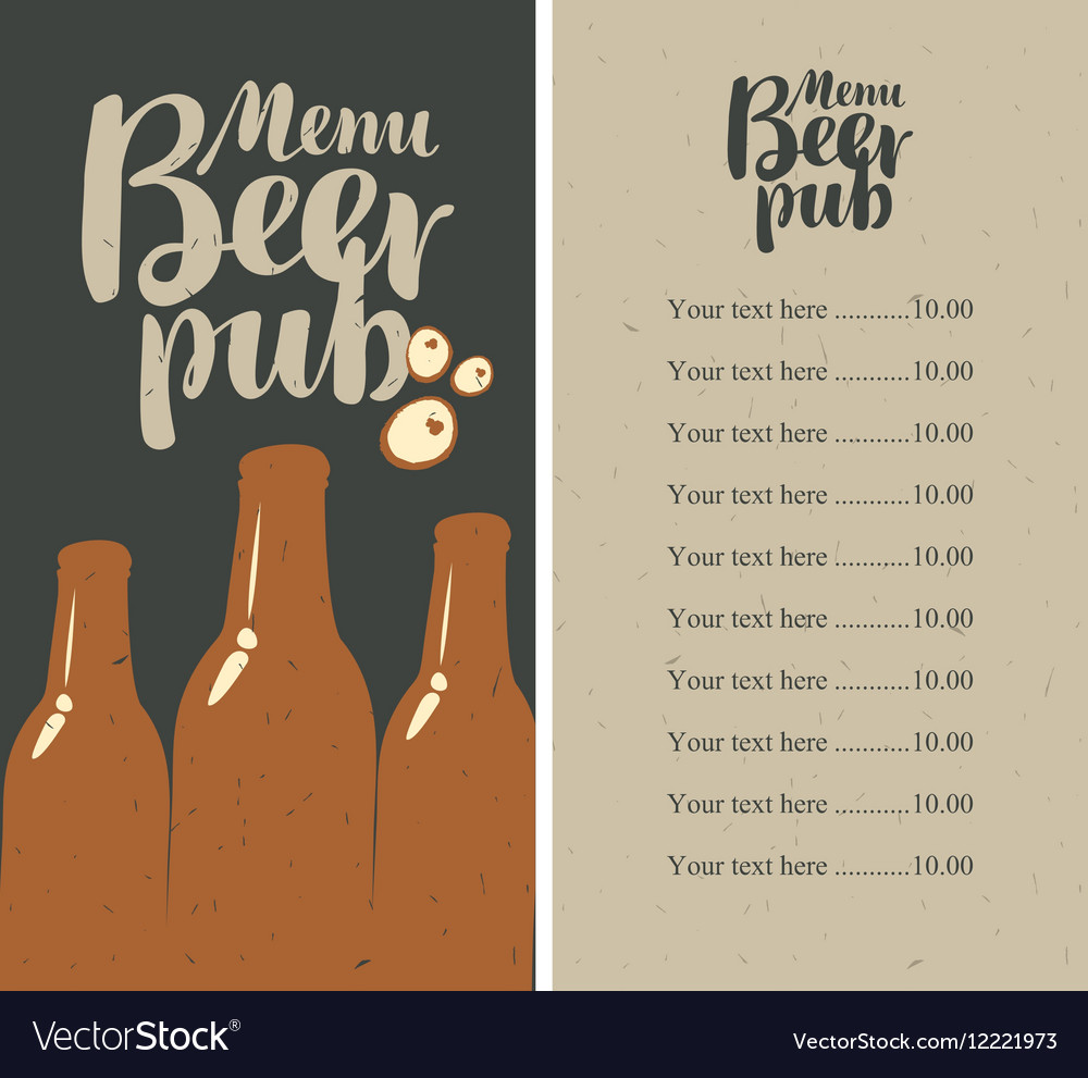 Beer pub menu