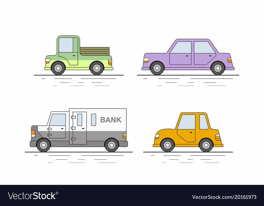 Car icons set flat colors style