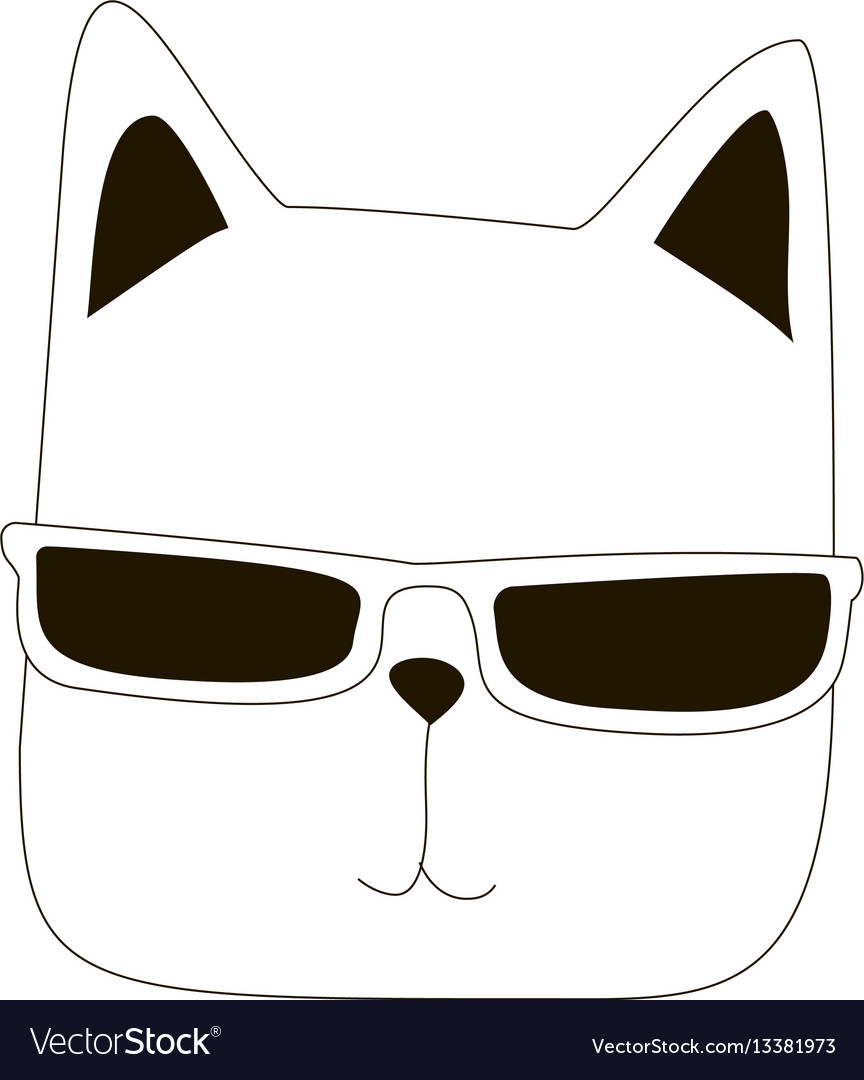 Cartoon cat line art