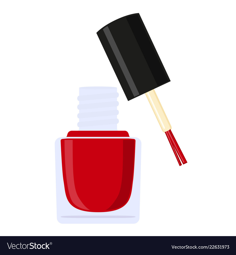Colorful cartoon open red nail polish bottle Vector Image