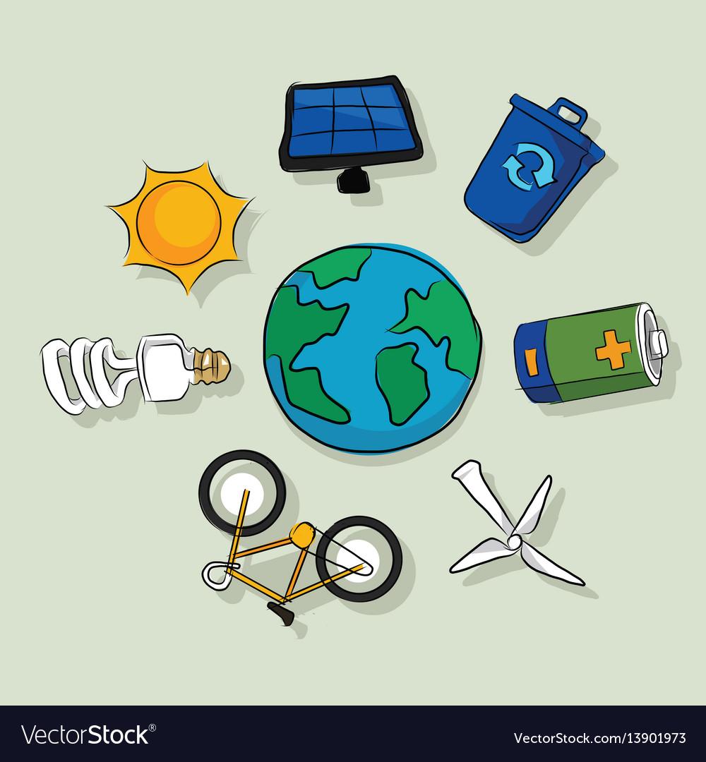 Energy alternative icons solar panel wind