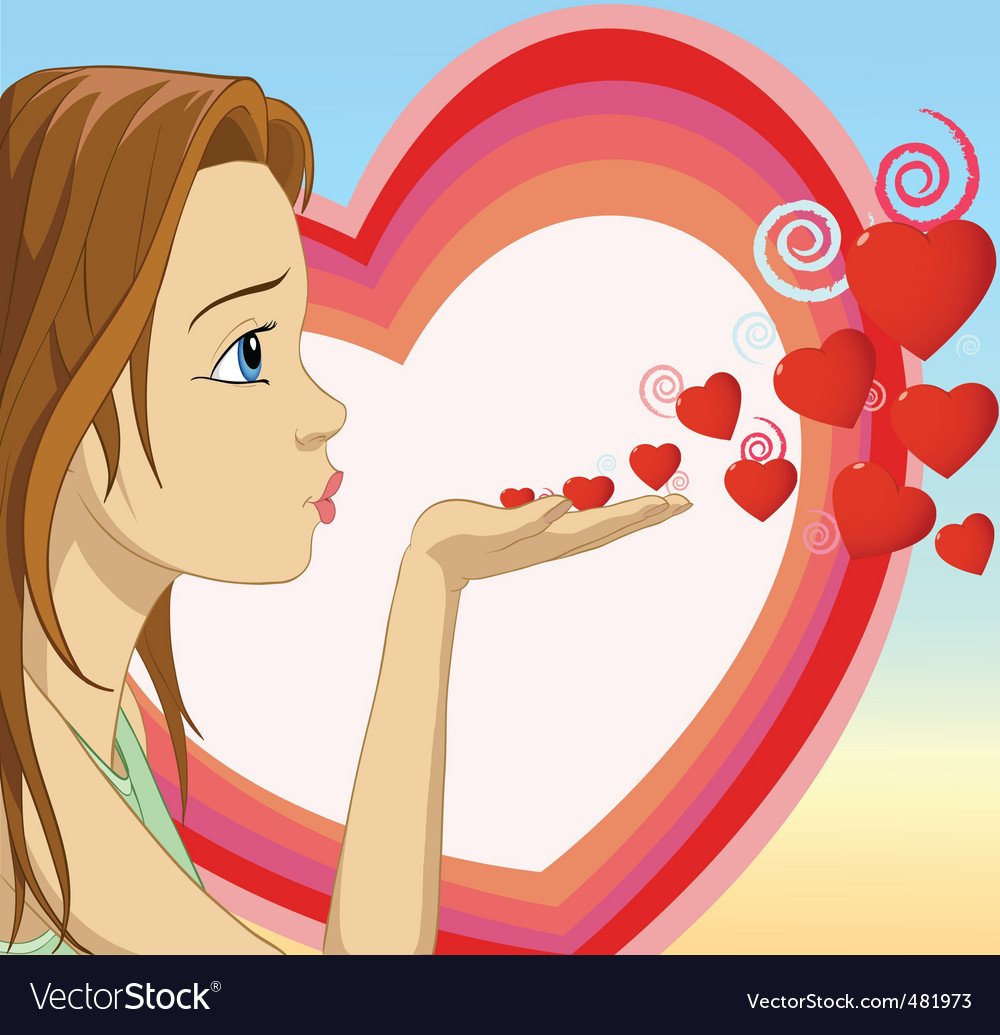 Girl blowing hearts shape