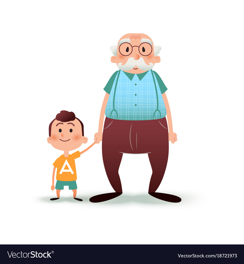 Grandfather and grandson holding hands little boy vector image