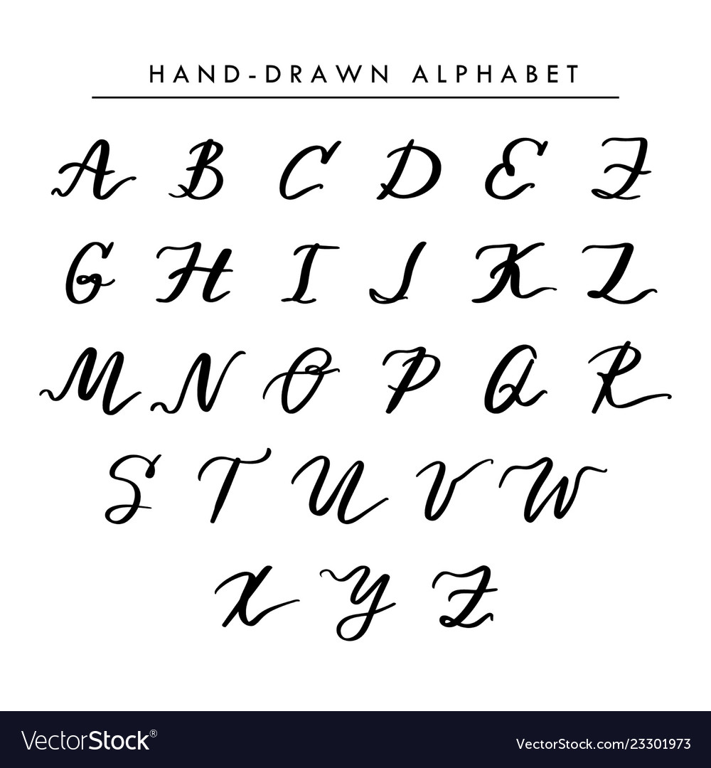Hand written alphabet cursive capital