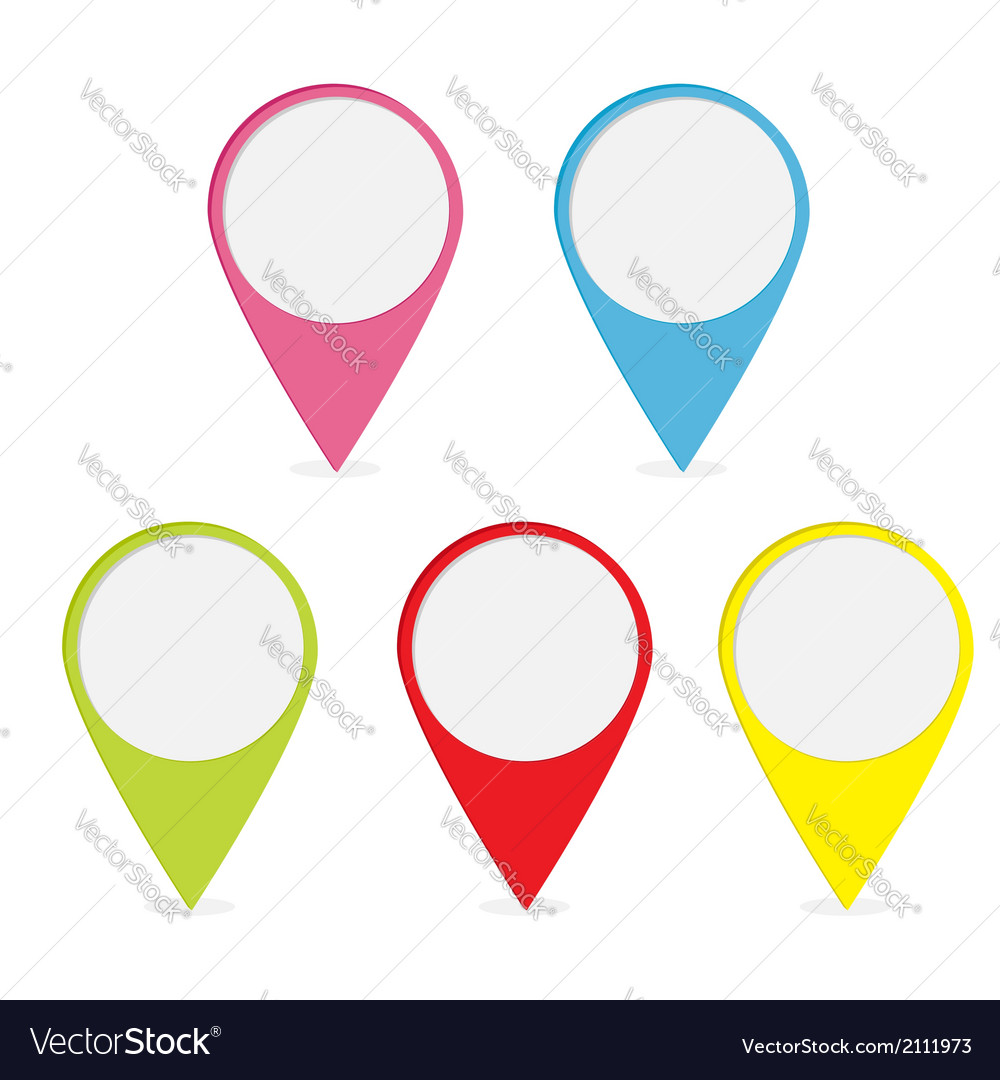 Map pointer set Colorful round markers