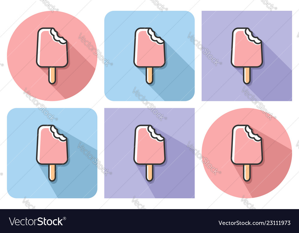 Outlined icon of bitten ice cream with parallel