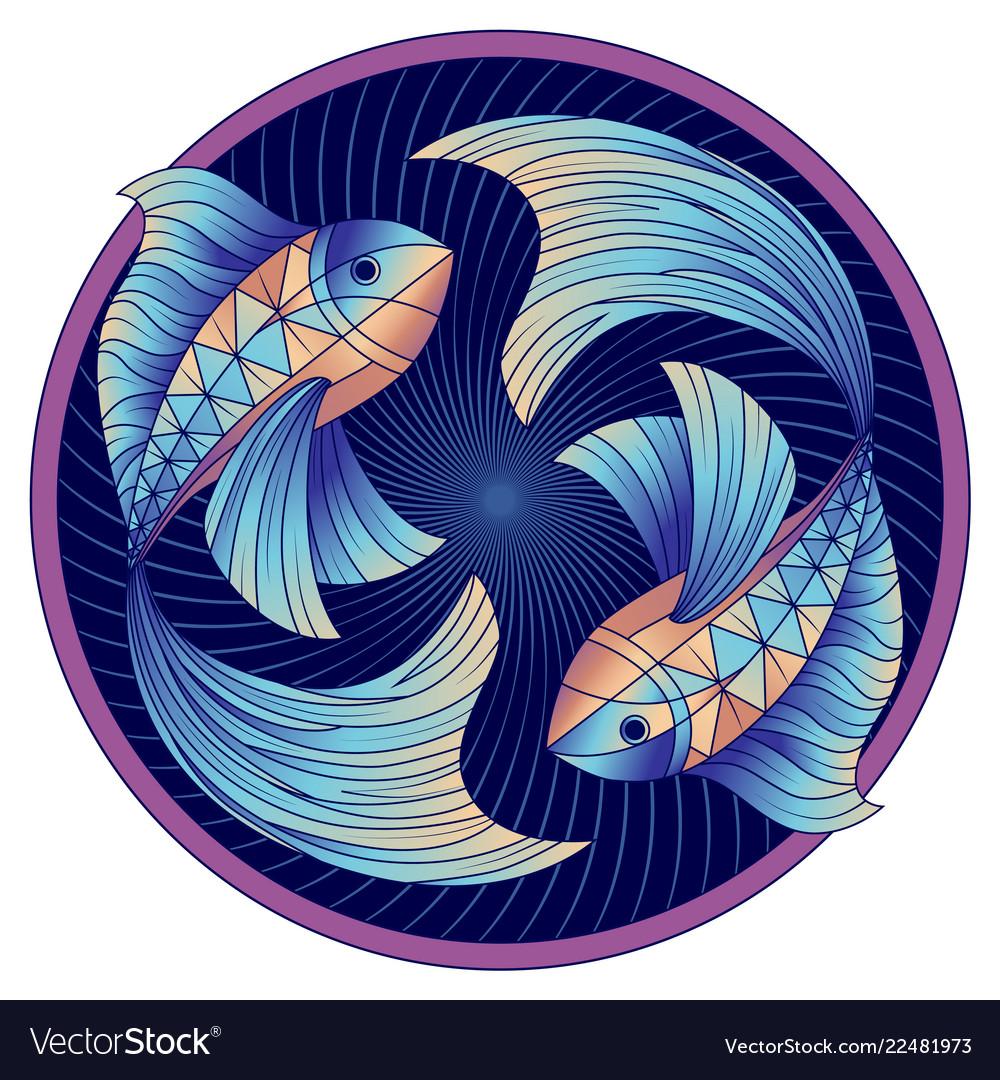 Pisces zodiac sign horoscope symbol blue