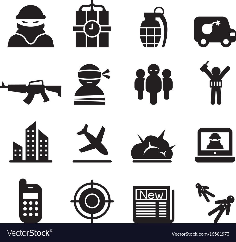Terrorism assassin killer icons set