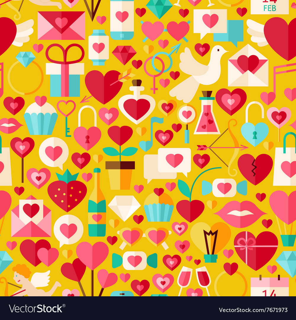 Valentine day flat design yellow seamless pattern