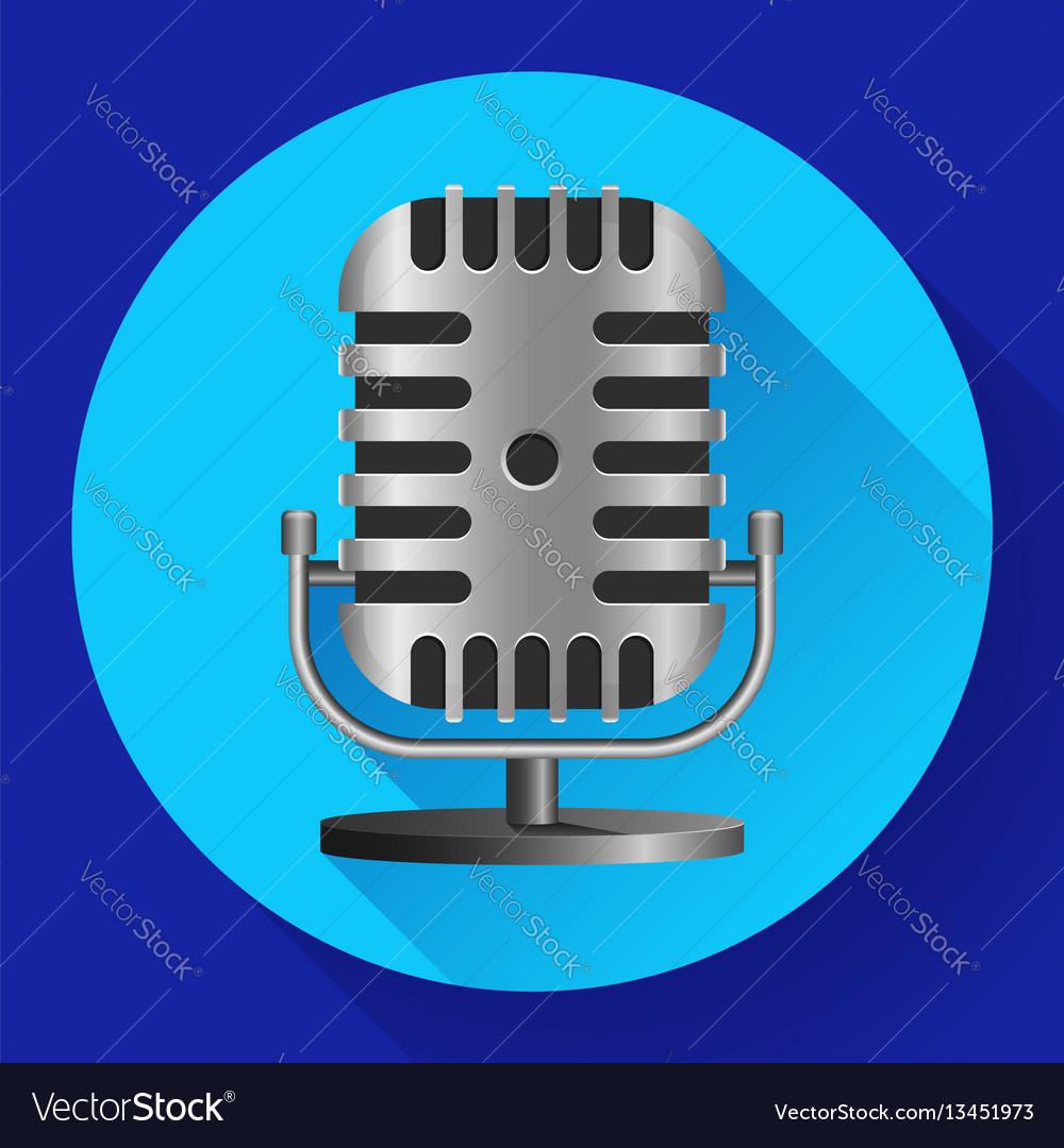 Vintage metal studio microphone icon
