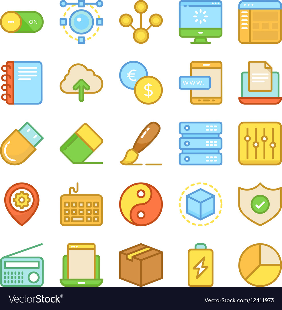 Web Design and Development Colored Icons 5 vector image