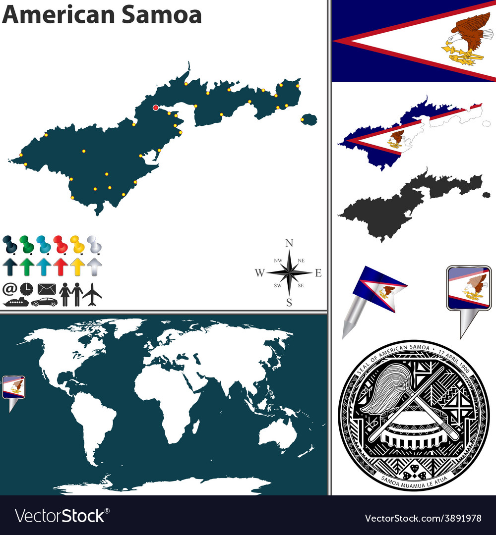 American Samoa map world Royalty Free Vector Image