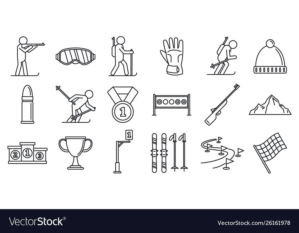 Biathlon ski icons set outline style