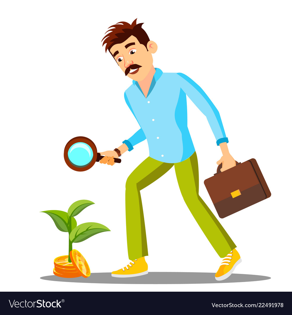 Businessman looking for money with magnifier on