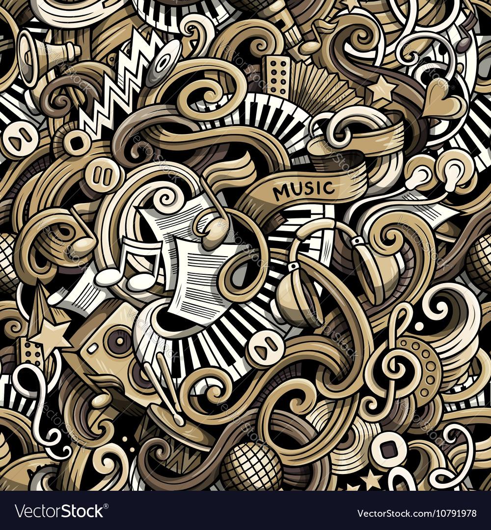 Cartoon hand drawn doodles Music seamless pattern vector image