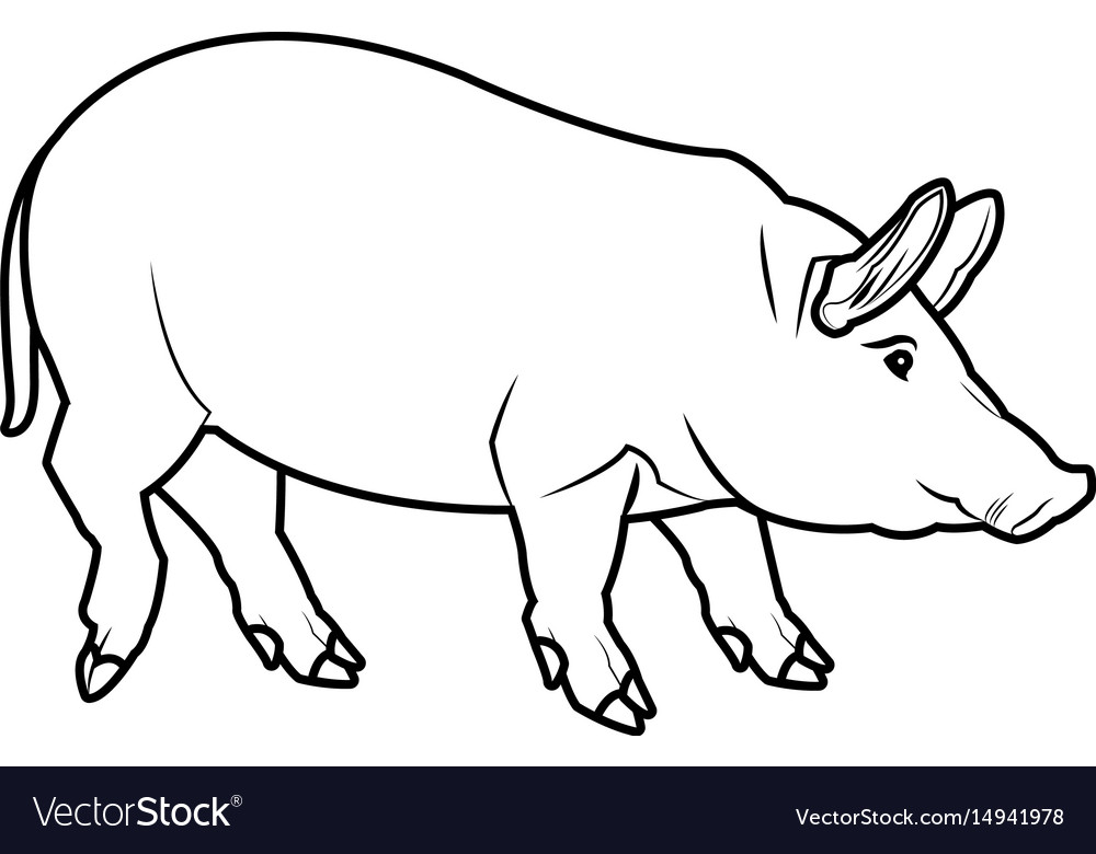 Cute Pig Cartoon Animal Farm Image Royalty Free Vector Image