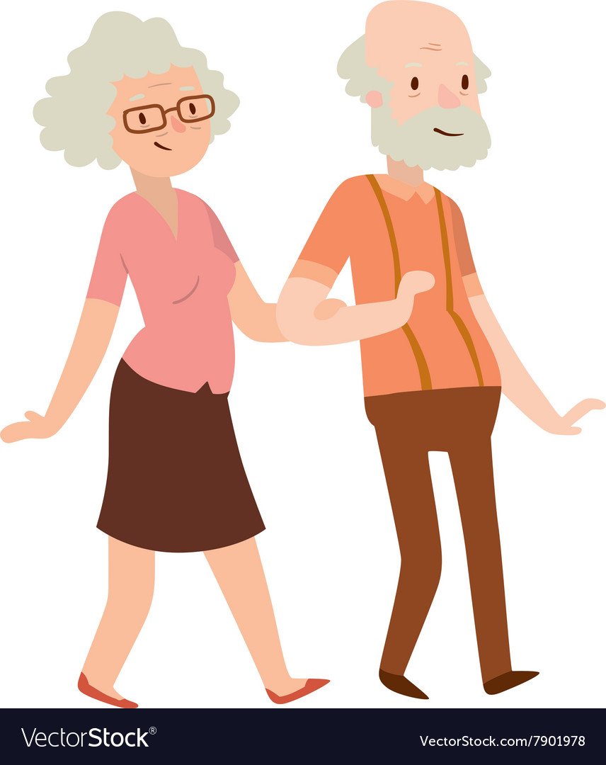 Grandmother and grandfather in modern flat design