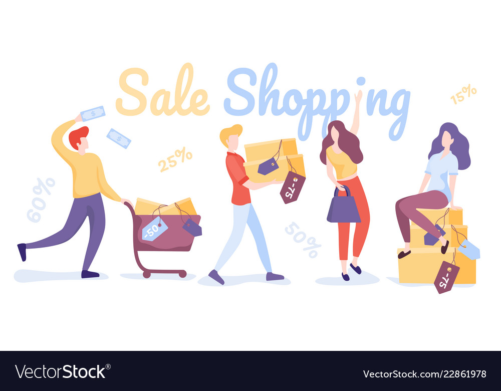 Happy shopping people sale shopping flat