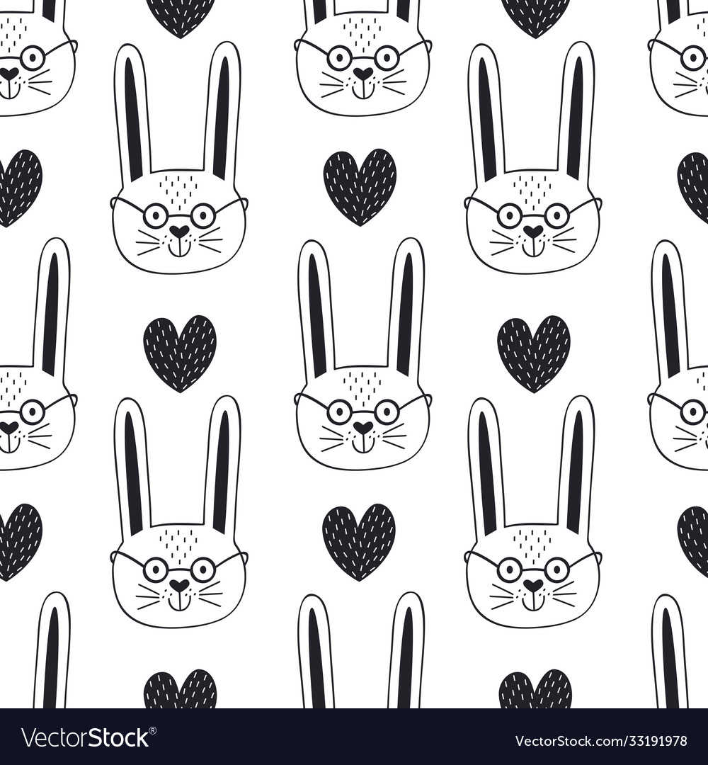 Seamless pattern with hare and heart