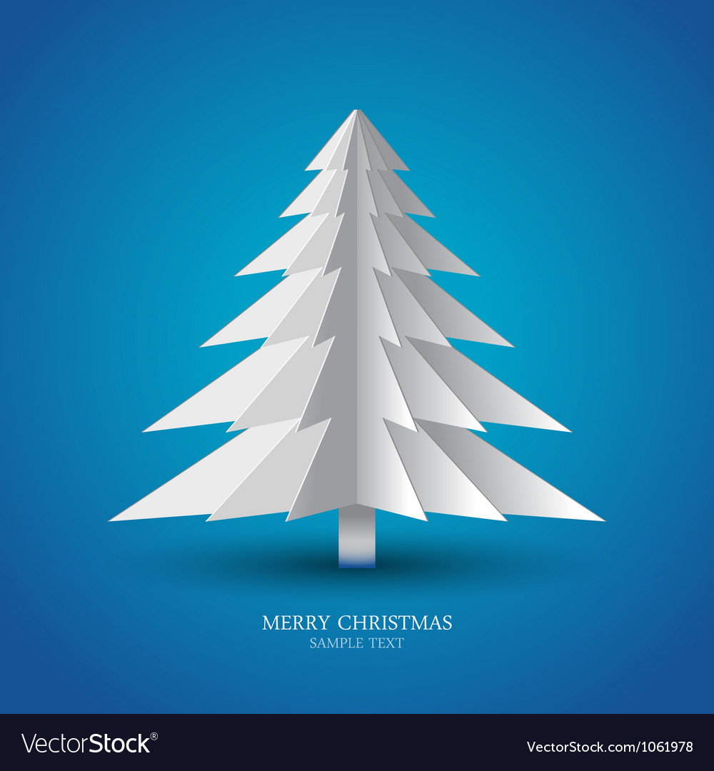 Simple christmas tree made from pieces of paper