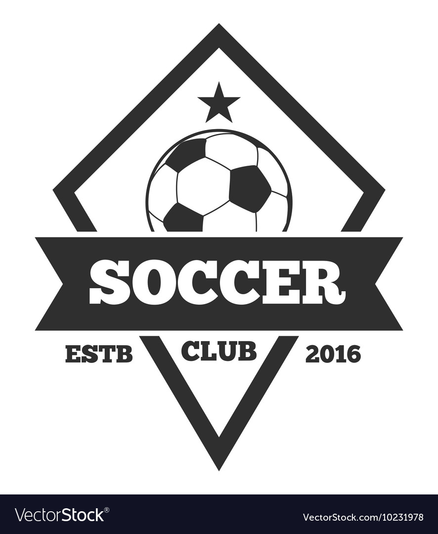 Soccer logo template emblem in black Royalty Free Vector