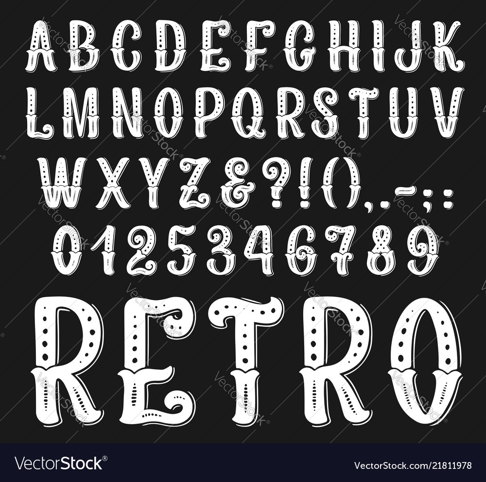 Vintage retro font letters and numbers